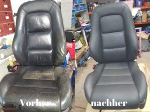 Sitzbezug Auto professionell repariert. Risse zusammengeflickt und Schäden unsichtbar gemacht bzw. repariert.